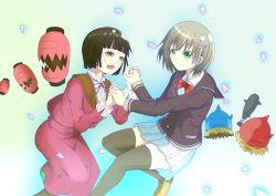 2girls binbougami_ga! minowa_kurumi multiple_girls sakura_ichiko skirt smile tears thighhighs zettai_ryouiki