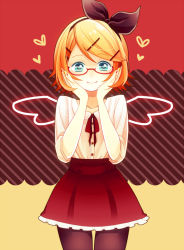 1girl blonde_hair glasses hands_on_own_face heart kagamine_rin looking_at_viewer nokuhashi short_hair skirt smile solo vocaloid
