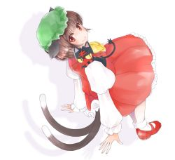 1girl animal animal_ears animal_on_shoulder bonnet bow bowtie brown_hair cat_ears cat_tail chen dress dutch_angle full_body green_hat hat juliet_sleeves litten_(pokemon) long_sleeves looking_at_viewer looking_back mary_janes multiple_tails orange_eyes pokemon pokemon_(creature) puffy_sleeves red_dress red_shoes ringo_tou_hachimitsu shadow shoes tail touhou two_tails white_background white_legwear yellow_bow yellow_bowtie yellow_sclera