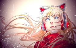 1girl animal_ears axent_wear blonde_hair blue_eyes cat_ears headphones long_hair original solo wenqing_yan