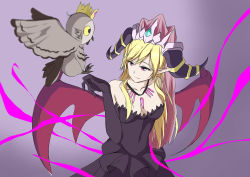 1girl bare_shoulders bird bird_on_hand black_dress black_gloves blonde_hair blurry breasts cleavage collarbone crown danny1128 demon_wings depth_of_field dress elbow_gloves evolution gloves gradient gradient_background horns jewelry lilith_(p&d) long_hair magic necklace off-shoulder_dress owl pink_eyes pointy_ears puzzle_&_dragons very_long_hair wings