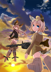2girls blue_eyes cloud floating_hair flying garrison_cap goggles goggles_on_head gun hanna-justina_marseille hat head_wings highres long_hair looking_at_viewer looking_back machine_gun mg34 multiple_girls pink_hair raisa_pottgen scarf short_hair sky smile strike_witches striker_unit sun sunset suomio tail uniform weapon