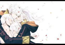 2boys 2girls dual_persona father_and_daughter fire_emblem fire_emblem:_kakusei group_hug hood hug iria_(cbjam) mark_(fire_emblem) mother_and_son multiple_boys multiple_girls my_unit_(fire_emblem:_kakusei) petals short_hair smile twintails white_hair yellow_eyes
