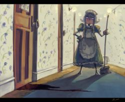 1girl apron blood braid bucket cleaning commentary hat izayoi_sakuya koto_inari maid maid_apron mop short_hair silver_hair solo touhou twin_braids waist_apron