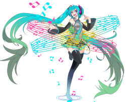 1girl absurdly_long_hair aqua_eyes aqua_hair detached_sleeves gradient_hair green_hair hatsune_miku headset long_hair multicolored_hair musical_note necktie open_mouth simple_background skirt solo standing_on_one_leg thighhighs twintails very_long_hair vocaloid white_background