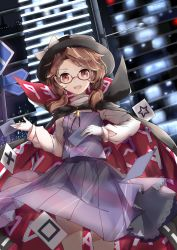 1girl absurdres brown_eyes brown_hair building cape city_lights dutch_angle glasses gloves hat hat_ribbon highres kekkai long_sleeves looking_at_viewer low_twintails open_mouth plaid plaid_skirt plaid_vest red-framed_glasses ribbon shirt short_hair skirt skirt_set smile solo touhou twintails upskirt usami_sumireko vest white_gloves zener_card