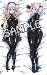 1girl :p ass ayuayu_(shouyu_no_sato) bangs bed_sheet beret black_hat blazer blue_eyes blush bodysuit breasts breasts_apart cameltoe closed_mouth dakimakura english epaulettes from_above from_behind gloves grey_skirt hair_between_eyes hair_ribbon half-closed_eyes hat heart heart-shaped_lock high_heels impossible_clothes indoors jacket kantai_collection kashima_(kantai_collection) kneepits knees_together_feet_apart large_breasts latex latex_suit legs_together lifted_by_self lock looking_back lying military military_uniform miniskirt multiple_views naughty_face nose_blush on_back on_bed on_stomach open_blazer open_clothes pleated_skirt ribbon sample seductive_smile sheet_grab shiny shiny_clothes short_twintails sidelocks silver_hair skin_tight skirt skirt_lift smile striped thighs tongue tongue_out transparent turtleneck twintails undressing uniform untied wavy_hair
