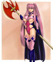 1girl armor axe breasts cape huge_weapon judge_martin knight long_hair pink_hair pixiv_fantasia pixiv_fantasia_3 red_eyes solo twintails underboob warrior weapon
