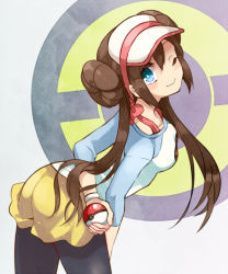 1girl black_legwear blue_eyes bow bracelet brown_hair double_bun holding holding_poke_ball irouha jewelry long_hair looking_at_viewer mei_(pokemon) one_eye_closed pantyhose poke_ball pokemon pokemon_(game) pokemon_bw2 raglan_sleeves short_shorts shorts smile solo twintails very_long_hair visor_cap