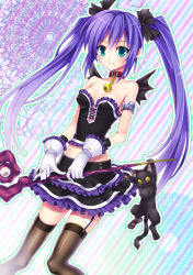 1girl aqua_eyes armlet bare_shoulders bat_wings bell bell_collar black_legwear blush bow cat collar collarbone dress frilled_dress frilled_skirt frills garter_straps gloves hair_bow hino_(mooncalf+t) magical_girl original purple_hair skirt smile solo staff thighhighs twintails white_gloves wings