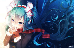 1girl ahoge aqua_hair bai_yemeng black_coat blue_eyes blush brown_gloves coat cup drinking eyebrows_visible_through_hair fingerless_gloves floating_hair gloves hair_between_eyes hatsune_miku headphones heart heart_print holding holding_cup latte_art long_hair long_sleeves number plaid plaid_scarf red_scarf revision scarf sipping snowflakes solo steam teacup twintails upper_body very_long_hair vocaloid