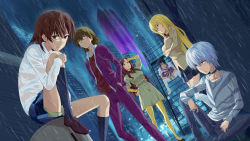 3boys 3girls accelerator against_wall bandanna black_hair blonde_hair brown_eyes brown_hair building chains checkered checkered_scarf checkered_skirt choker city cityscape coat crossed_arms hand_on_forehead hand_on_hip hands_in_pockets highres jack-barro jacket jacket_on_shoulders kakine_teitoku knee_up kneehighs knees_to_chest leaning leg_hug long_hair long_sleeves looking_at_viewer miniskirt misaka_mikoto mugino_shizuri multiple_boys multiple_girls necktie pants pantyhose pleated_skirt purple_jacket purple_pants rain red_eyes rising_sun scarf school_uniform shoes shokuhou_misaki short_hair shorts_under_skirt sitting sitting_on_object sitting_on_stairs skirt skyscraper sogiita_gunha stairs standing standing_in_rain sunburst thighhighs to_aru_majutsu_no_index vest wet white_hair white_legwear white_pants yellow_eyes yellow_legwear zettai_ryouiki