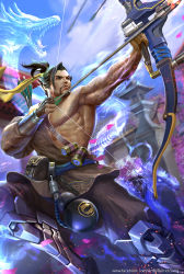 1boy aiming archery architecture arm_tattoo beard black_hair blue_sky bow_(weapon) brown_eyes cherry_blossoms day derrick_song dragon drawing_bow east_asian_architecture eastern_dragon facial_hair ghost gourd hanzo_(overwatch) holding holding_weapon japanese_clothes long_hair looking_afar male_focus manly motion_blur muscle nose outdoors overwatch parted_lips ponytail quiver realistic short_hair sky solo tattoo tree watermark weapon web_address