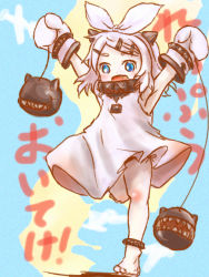 1girl alternate_hairstyle anklet armpits arms_up barefoot black_panties blue_eyes fang hair_ornament hair_ribbon hairclip horns jewelry kagamine_rin kantai_collection lots_of_jewelry mittens monster northern_ocean_hime open_mouth panties ribbon sharp_teeth shinkaisei-kan solo thrux translated underwear vocaloid white_hair