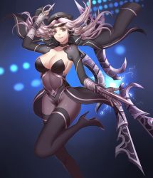 1girl bandage black_legwear blade boots breasts brown_eyes cap choker cleavage dagger detached_sleeves hat high_heels highres hips irelia jacket jacket_on_shoulders knee_up large_breasts league_of_legends liuruoyu8888 long_hair looking_at_viewer navel pantyhose pose silver_hair smile solo sunglasses sunglasses_on_head thigh_boots thighhighs