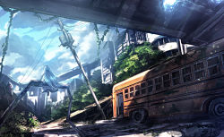 1girl axe blue_hair cloud day from_behind haru_(ryosios) light_rays long_hair original overgrown post-apocalypse revision ruins ryosios scenery school_bus sitting sky solo sunbeam sunlight telephone_pole very_long_hair weapon