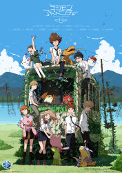 3girls 5boys agumon belt bird black_eyes black_legwear black_necktie black_pants black_skirt blonde_hair blue_eyes blue_scarf blue_shoes bowtie brown_eyes brown_hair brown_shoes butterfly claws climbing cloud creature credits digimon digimon_adventure_tri digimon_adventure_tri. eyes_closed gabumon glasses gloves gomamon grass green_eyes green_shirt green_shoes green_skirt grey_pants hair_ornament hairpin highres holy_ring horn insect ishida_yamato izumi_koushirou kido_jou lake light_brown_hair logo long_hair mountain multiple_boys multiple_girls necktie official_art open_mouth orange_hair palmon pants patamon pink_hat piyomon plant poster red_bowtie red_eyes red_shoes scarf school_uniform serafuku shirt shoes short_hair sitting skirt sky smile sneakers spiked_hair stampede_string streetcar tachikawa_mimi tailmon takaishi_takeru takenouchi_sora teeth tentomon uki_atsuya watermark web_address white_legwear white_shirt yagami_hikari yagami_taichi yellow_eyes yellow_gloves