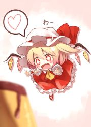 +_+ 1girl ascot blonde_hair blush_stickers chibi crystal fami_(yellow_skies) fang flandre_scarlet flying food full_body hat hat_ribbon heart highres mary_janes mob_cap open_mouth outstretched_arms pantyhose ponytail pudding puffy_sleeves ribbon shirt shoes short_hair short_sleeves side_ponytail simple_background skirt skirt_set smile solo star star-shaped_pupils symbol-shaped_pupils touhou vest white_legwear wings wrist_cuffs