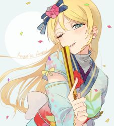 1girl angelic_angel ayase_eli bangs blush bow chinese_clothes fan green_eyes hair_bow hair_ornament long_hair love_live! love_live!_school_idol_project lyc13 one_eye_closed smile solo