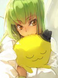 1girl c.c. cheese-kun code_geass creayus green_hair hat hug long_hair looking_at_viewer mini_hat solo yellow_eyes