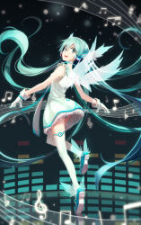 1girl aqua_hair dress gloves green_eyes hatsune_miku headphones highres lf long_hair looking_back musical_note open_mouth panties revision solo striped striped_panties thighhighs twintails underwear very_long_hair vocaloid wings