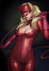 1girl blonde_hair blue_eyes bodysuit breasts cat_mask cleavage cleavage_cutout dark_background domino_mask female gloves latex latex_suit licking_lips looking_at_viewer mask open_mouth persona persona_5 phamoz solo standing takamaki_anzu tongue tongue_out twintails whip zipper