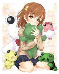 1girl brown_eyes brown_hair frog misaka_mikoto school_uniform shin_(highest1192) short_hair stuffed_animal stuffed_frog stuffed_toy to_aru_kagaku_no_railgun to_aru_majutsu_no_index