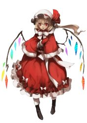 1girl adapted_costume asymmetrical_hair blonde_hair boots bow capelet crystal dress flandre_scarlet full_body gloves hat hat_ribbon highres looking_at_viewer mob_cap no-kan open_mouth red_dress red_eyes red_gloves ribbon sash side_ponytail simple_background smile solo touhou white_background wings winter_clothes