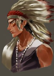 1boy bare_shoulders black_hair facepaint green_eyes headdress highres jojo_no_kimyou_na_bouken kuujou_joutarou native_american_headdress profile samuraisamurai solo towel