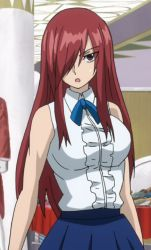 1girl breasts brown_eyes dress erza_scarlet fairy_tail female hair_over_one_eye large_breasts long_hair ponytail red_hair solo