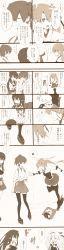absurdres akagi_(kantai_collection) artist_request comic failure_penguin highres japanese_clothes kaga_(kantai_collection) kantai_collection long_hair monochrome multiple_girls shoukaku_(kantai_collection) side_ponytail translation_request tripping twintails zuikaku_(kantai_collection)