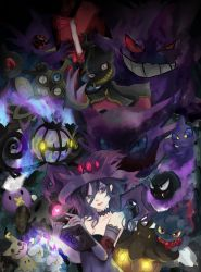 1girl armband banette bare_shoulders book breasts chandelure choker cleavage closed_mouth cosplay dark drifloon duskull elbow_gloves emblem english eyebrows_visible_through_hair fire flame gastly gengar ghost gloves glowing glowing_eye grimoire hat haunter heart highres holding holding_book honedge lace lace-trimmed_gloves litwick looking_at_viewer mimikyu mimikyu_(pokemon) misdreavus mismagius mismagius_(cosplay) oka_ruto_(yandere_simulator) open_book pentagram pokemon pokemon_(creature) pumpkaboo purple_eyes purple_gloves purple_hair purple_hat red_lips sableye shuppet smile upper_body valeera witch_hat yamask yandere_simulator