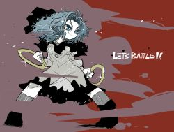 1girl black_boots blue_eyes boots colored_eyelashes fighting_stance grey_legwear hood hood_down hooded_dress kumoi_ichirin light_blue_hair long_hair long_sleeves looking_afar see-through_silhouette smile solo sparkle touhou wide_stance wind yt_(wai-tei)