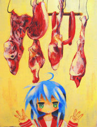 00s 1girl ahoge blue_eyes blush commentary_request double_w food green_eyes highres hook izumi_konata jitome looking_at_viewer lucky_star meat school_uniform serafuku solo suzuma upper_body w