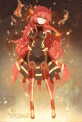 1girl bodysuit covered_navel elbow_gloves flame full_body gloves groudon hair_ornament hand_to_own_mouth long_hair looking_at_viewer payot personification pokemon red_gloves red_hair solo very_long_hair yellow_eyes yonggi