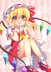 1girl :d adjusting_glasses ascot bangs bespectacled blonde_hair blush bobby_socks crystal fang flandre_scarlet frilled_shirt_collar frilled_skirt frills glasses hat hat_ribbon knees_up looking_at_viewer mary_janes mob_cap open_mouth puffy_short_sleeves puffy_sleeves red-framed_eyewear red_eyes red_ribbon red_skirt red_vest ribbon ruhika semi-rimless_glasses shoes short_sleeves side_ponytail sitting skirt skirt_set smile socks solo touhou under-rim_glasses vest white_legwear wings wrist_cuffs