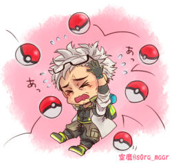 1boy beard black_hair coat facial_hair glasses_on_head gloves grey_hair male_focus multicolored_hair open_mouth pokemon pokemon_(game) pokemon_go professor_willow two-tone_hair