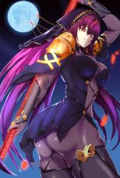 1girl armor artist_request ass bodysuit breasts fate/grand_order fate_(series) full_moon gloves grin large_breasts long_hair looking_at_viewer moon night pantyhose purple_hair red_eyes shiny shiny_clothes shiny_hair sideboob smile solo spear veil very_long_hair weapon