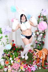 1girl asian black_hair breasts bunny_ears bunny_tail chouzuki_maryou large_breasts photo plump solo