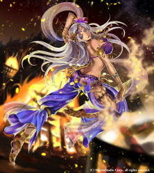 1girl back barefoot_sandals blue_eyes bracelet breasts cleavage company_name dagger dancer dark_skin earrings facial_mark fire forehead_mark full_body grey_hair gyakushuu_no_fantasica hair_ornament highres jewelry long_hair nail_polish necklace official_art open_mouth rinneroll solo teeth tiara weapon