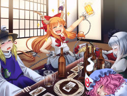 5girls =_= alcohol beer blonde_hair blue_dress blush bottle bow chains commentary crystal danmaku!! dress drooling drunk eyes_closed flandre_scarlet frog hair_bow hair_ribbon hairband hat hat_ribbon hitodama horn_ribbon horns ibuki_suika indoors japanese_clothes kimono konpaku_youmu long_sleeves lying m._beatriz_garcia mob_cap moriya_suwako multiple_girls on_stomach oni open_mouth orange_hair pink_hair plate puffy_sleeves purple_dress red_bow ribbon saigyouji_yuyuko shirt short_hair short_sleeves shouji sick silver_hair skirt skirt_set sleeping sleeveless sleeveless_shirt sliding_doors sparkle touhou triangular_headpiece unconscious vest wide_sleeves wings wrist_cuffs