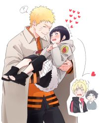 2boys 2girls black_hair blonde_hair carrying facial_mark family father_and_daughter father_and_son hyuuga_hinata mother_and_daughter mother_and_son multiple_boys multiple_girls naruto princess_carry shigegigi short_hair time_paradox uzumaki_boruto uzumaki_himawari uzumaki_naruto younger