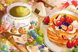 artist_name blueberry checkerboard_cookie cookie cup english flower food fruit green_tea heart no_humans onigiri original pancake plant plate stack_of_pancakes strawberry sugar_cube tea teabag teacup yon_(kyuyeon)