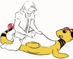 1boy 1girl ampharos animated animated_gif bestiality furry hat penis pokemon sex size_difference tagme