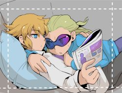2boys blonde_hair blue_eyes couch dylan_keith gorugon inazuma_eleven inazuma_eleven_(series) magazine male_focus mark_kruger multiple_boys on_person open_mouth pillow sweat yaoi