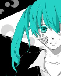 1girl a5_arashi aqua_hair bandage hatsune_miku looking_at_viewer lowres rolling_girl_(vocaloid) scratches solo