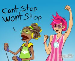 1boy 1girl clenched_hands crossover dark_skin dress fist_pump goggles hand_puppet israel_espinoza lazytown lucio_(overwatch) overwatch pink_dress pink_hair puppet stephanie_(lazytown) striped tracer_(overwatch) vertical-striped_dress vertical_stripes