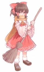 1girl ascot bow broom brown_hair detached_sleeves furorida hair_bow hair_tubes hakurei_reimu loafers ribbon-trimmed_sleeves ribbon_trim scarf shoes simple_background socks solo standing sweeping touhou white_background
