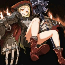1girl black_background blonde_hair boots cloak fire full_body grin highres holding hood hooded_cloak little_red_riding_hood_(sinoalice) long_sleeves looking_at_viewer mace simple_background sinoalice smile solo teeth ume_(yume_uta_da) weapon