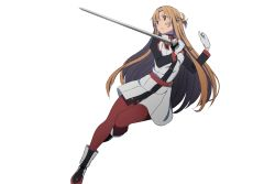 1girl adachi_shingo alternate_costume asuna_(sao) brown_eyes brown_hair gloves highres holding holding_sword holding_weapon long_hair red_legwear simple_background solo sword sword_art_online transparent_background weapon white_gloves